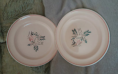 POOLE 'TWINTONE' LEAPING DEER DINNER PLATES [x2]