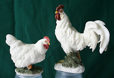 ROOSTER and HEN Pair Figurines Statues  (set of 2) Chicken Farm Country- NEW