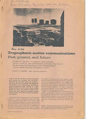 Trophospheric scatter communications by Frank A.Gunther- IEEE spectrum sept.1966