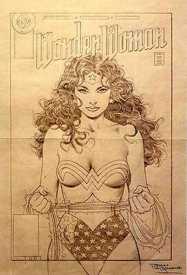 Wonder Woman Repro 1990 Pencil Illustration Poster By Brian Bolland . Dc Comics