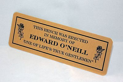 Personalised Memorial Bench Plaque Wall Plate Multiple Sizes Gold Or Silver