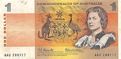 Australia Commonwealth  $1 Series ND.1966 P 37a  AAU circulated  Banknote , SP 7