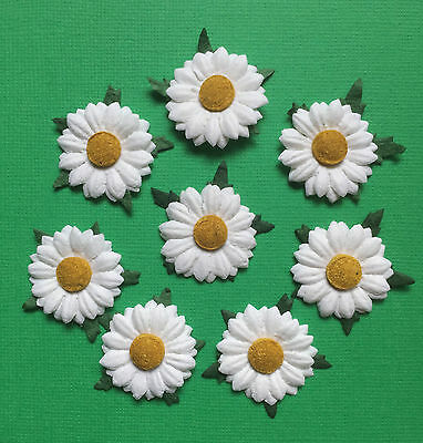 ✿ GORGEOUS HANDMADE MULBERRY PAPER WHITE DAISIES X 12 ✿ 2.8 cm  ✿
