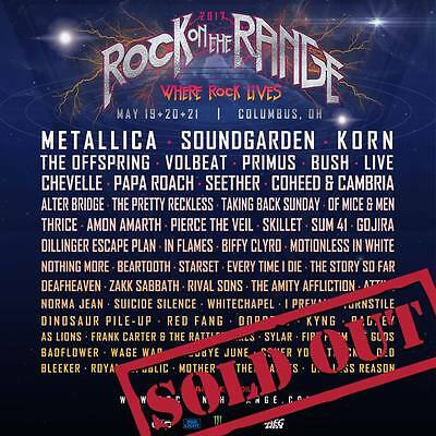 Rock On The Range 2017 Stadium 3 day pass 5/19- 21 ticket wristband Columbus OH