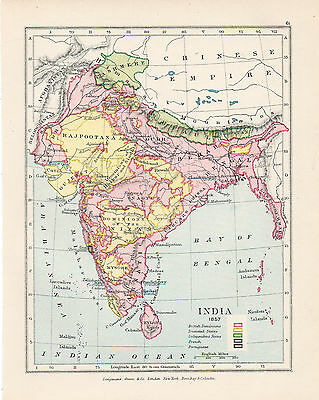 Map Of India circa 1857  Original Printed 1910
