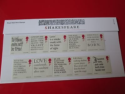 William Shakespeare Presentation Pack 10 STAMPS Royal Mail 2016