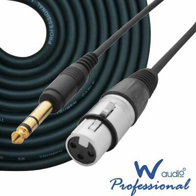 """1m to 10m Audio Signal Leads Female XLR to 1/4"""" TRS Stereo Jack 6.35mm Cable OFC"""