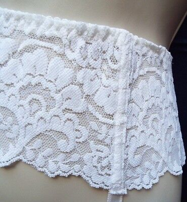 Vintage Quality Presence Wide Stretch Lace Burlesque white suspender belt 10/12