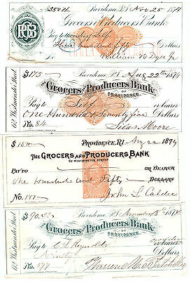 Groceers Produce Bank Checks Lot of 12 Different Providence Rhode Island 1870's