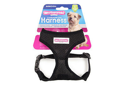 Ancol Black Comfortable Mesh Dog & Puppy Harness, Adjustable, Soft & Breathable