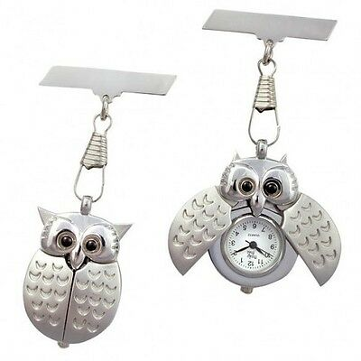 OWL Funky Nurses fob watch opening wings lovely design! Free P&P (UK)