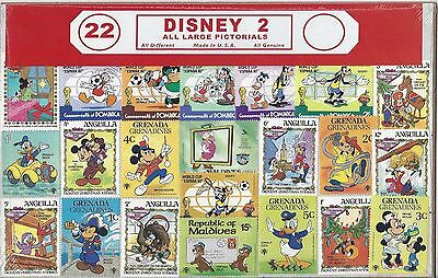 Disney 2 Assortment 22 Stamps All Different All Uncancelled Multiple Countries