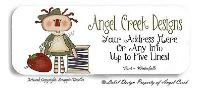 Country Primitive Sewing Crafts Rag Doll Personalized Return Address Labels