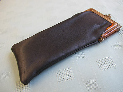 VINTAGE LEATHER FAUX TORTOISE SHELL SPECTACLES GLASSES CASE STEAMPUNK c1950s
