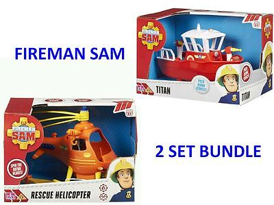 Fireman Sam 2 Set Bundle - Get Both Titan And Rescue Helicopter *new In Box*