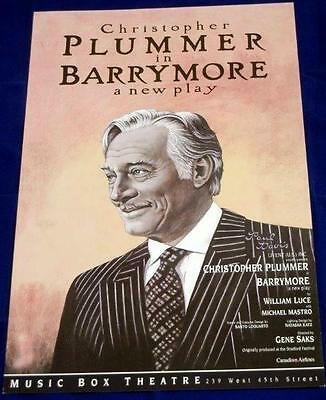 BARRYMORE Starring Christopher Plummer, Broadway Theater Poster / Lobby Card