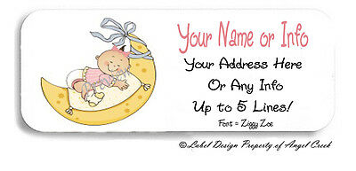 Baby Girl On Moon Baby Shower Announcement Personalized Return Address Labels