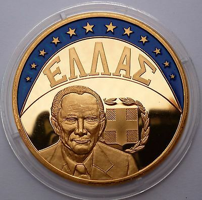 Greece 1 Ecu 1997 Gold plated proof coin Andreas Papandreou