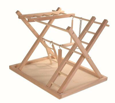 BEST BIRD PLAY WOODEN Stand Parrot Playground Toy Perch Swing Game Arena Cage