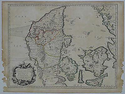 1659 Genuine Antique map Denmark, Nort-Iutlande, Danemarck. N. Sanson