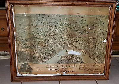 Antique 1889 Birds Eye View Map Elsmere Subdivision Norwood Eastern Cincinnati