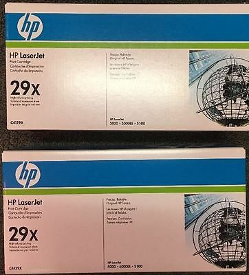 2 New Factory Sealed Genuine HP 29X Laser Cartridges White and Blue Boxes