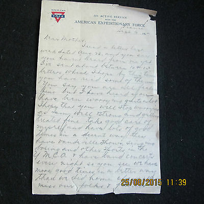 Letter from soldier 1917 in Gen. Pershings American Expeditionary Force, France