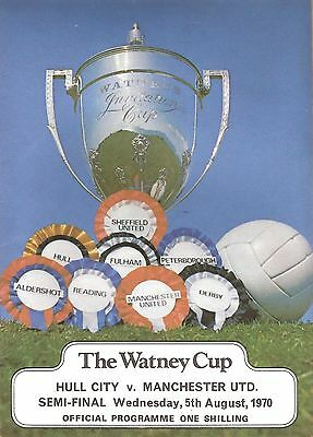 WATNEY CUP SEMI-FINAL programme 05/08/1970 Hull City v Manchester United