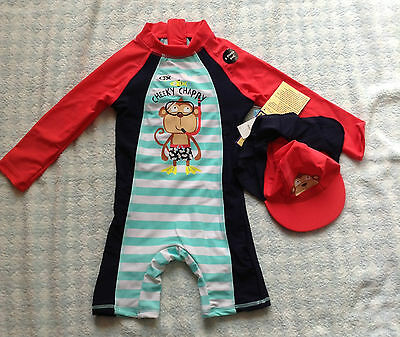baby boys cheeky chappy monkey uv upf 50+ surfsuit sunsuit + hat sev sizes NEW