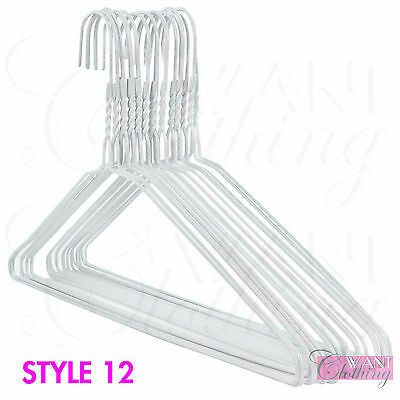 New White Metal Wire Strong Hangers Clothes Garment Coat Dress Trouser Top 41Cm