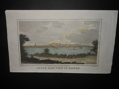 Scarce South East View Boston Massachusetts 1828 Hand Colored Engraving