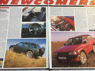 Vauxhall Frontera # Newcomer # Original 1991 Automotive Article # 2 Page Report