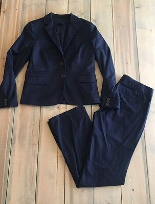 J CREW Women's Navy Blue Suit Jacket Pants Size 2 XS