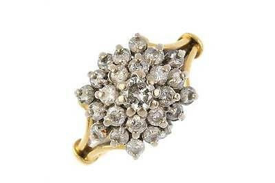 An 18ct gold 1.10ct diamond stepped cluster ring.