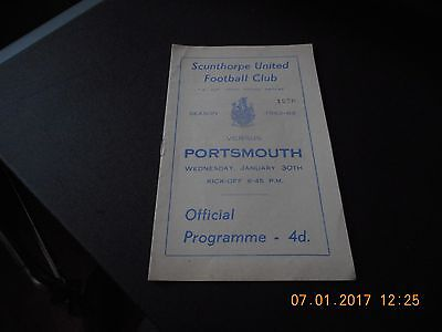 Scunthorpe United v Portsmouth FA Cup 3rd Round Replay 30/1/1963