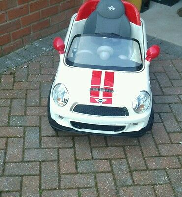 Red and white Mini Cooper S Ride On Car