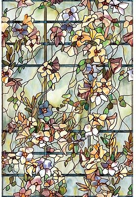 Home Privacy Window Film Decorative Floral Art Stained Etched Glass Artscape New