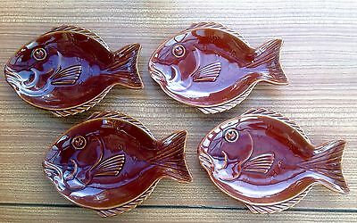 4 X Dartmouth Pottery Fish Serving Dishes Brown