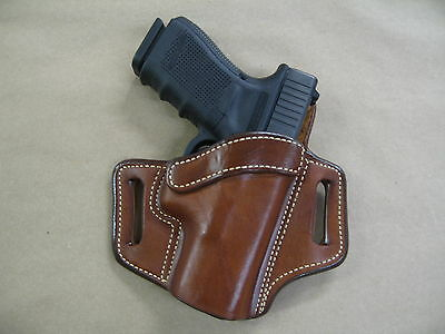 Ruger American Compact 9mm OWB Leather 2 Slot Pancake Belt Holster CCW TAN RH