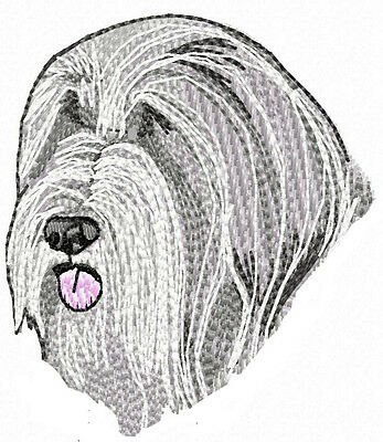 Bearded Collie Head embroidery patch