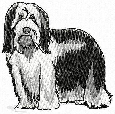 Bearded Collie standing  embroidery patch