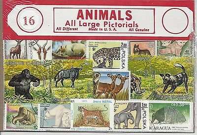 Packet of 16 Animal Stamps All Different