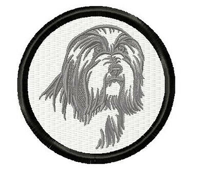 Bearded Collie Silhouette embroidery patch