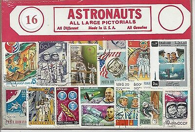 Packet of 16 Astronaut Stamps All Different