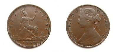 Victoria 1860 Bronze Bun Head Penny - 'onf For One' Error - Extremely Rare