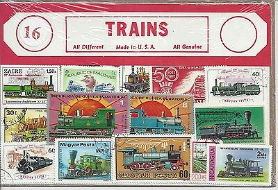Packet of 16 Train Stamps All Different