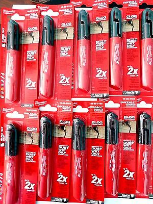 10-Milwaukee 48-22-3103 Inkzall Black Permanent Marker Chisel Tip With Clip  New