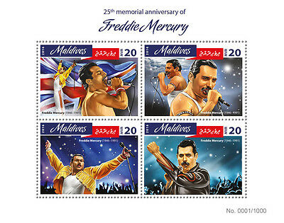 Maldives 2016 MNH Freddie Mercury 25th Memorial 4v M/S Music Celebrities Stamps
