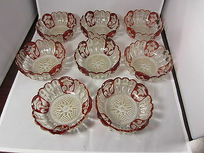EAPG Sunken Primrose 8 Berry Bowls 1893 Greensburg Pressed Glass Ruby Stain 4.5""
