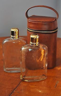 Pair Double Glass Liquor Hip Flasks, 2 Bottles, Brown Case-Whiskey Flasks Curved